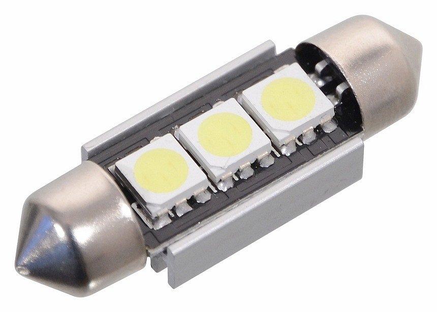 Compass Žárovka 3 SMD LED 12V sufitka SV8.5 s rezistorem CAN-BUS ready bílá