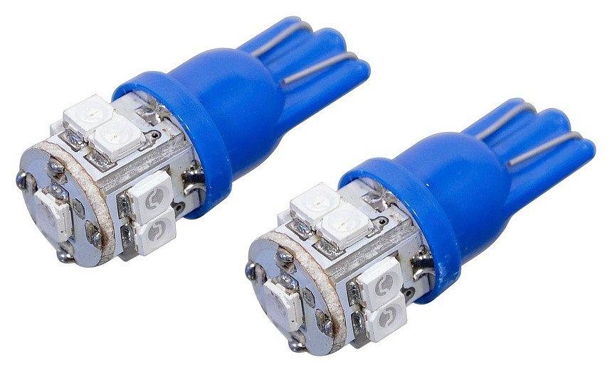Compass Žárovka 9 SUPER LED 12V T10 modrá 2 ks