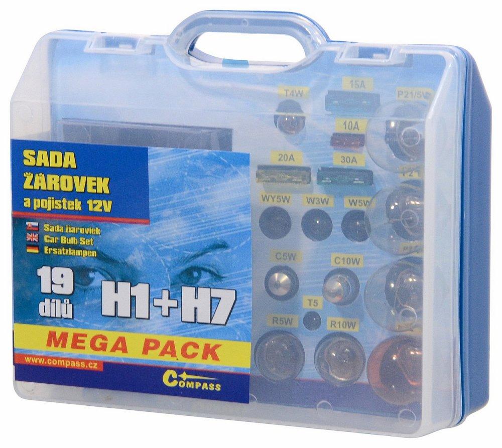 Compass Žárovky 12V servisní box MEGA H1+H7+pojistky