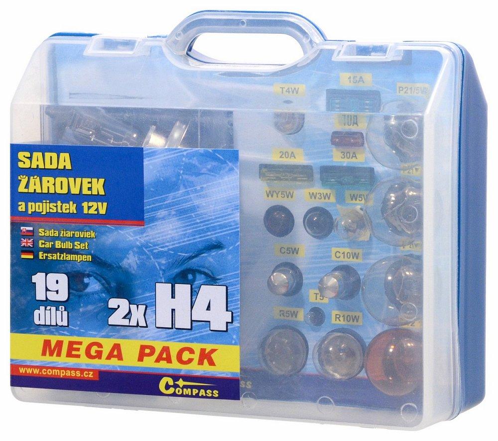 Compass Žárovky 12V servisní box MEGA H4+H4+pojistky